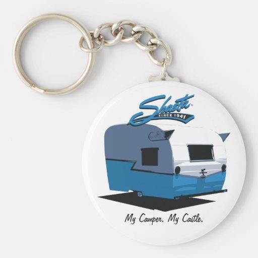 Shasta Vintage Camper - blue Keychain