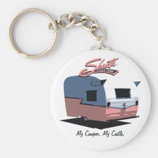 Shasta Vintage Camper - Pink Basic Round Button Keychain