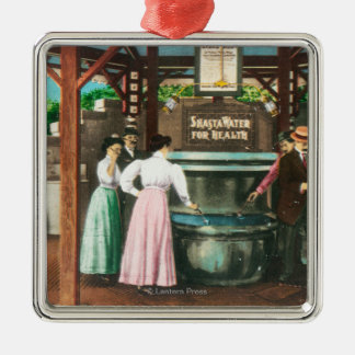 Shasta Water Drinking Fountain Scene Metal Ornament