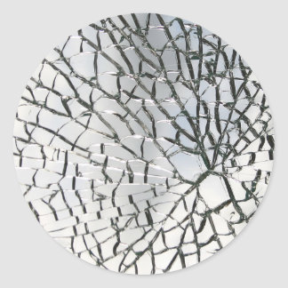 Shattered glass texture classic round sticker