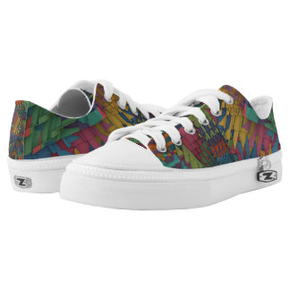Shattered - Irregular, Abstract, 3-D Pattern Low-Top Sneakers