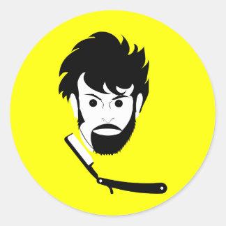Shave - Man Shaving Beard - Shaved Beard Classic Round Sticker