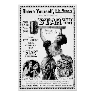 Shave Yourself - Vintage 1901 Advertising Poster