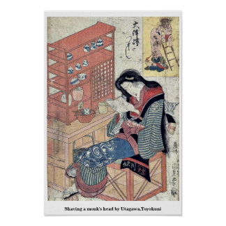 Shaving a monk's head by Utagawa,Toyokuni Posters