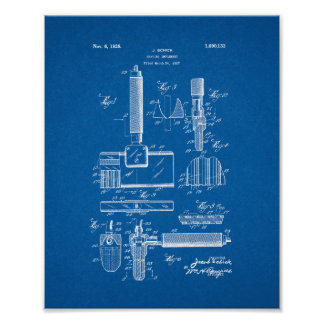 Shaving Implement Patent - Blueprint Poster