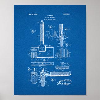 Shaving Implement Patent - Blueprint Poster