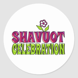 Shavuot Celebration fun Greeting with flower Classic Round Sticker