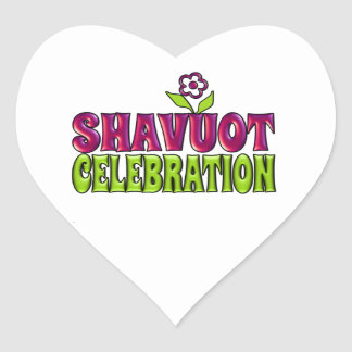 Shavuot Celebration fun Greeting with flower Heart Sticker