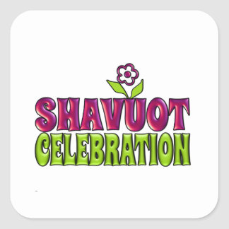 Shavuot Celebration fun Greeting with flower Square Sticker