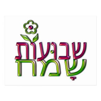 Shavuot Sameach Hebrew שבועות שמח Happy Shavuot Postcard