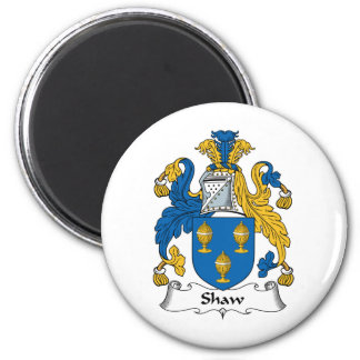 Shaw Family Crest 2 Inch Round Magnet