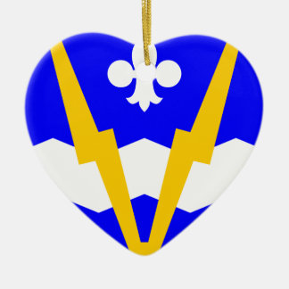 Shawinigan flag Double-Sided heart ceramic christmas ornament