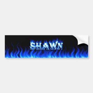 Shawn blue fire and flames bumper sticker design