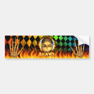 Shawn skull real fire and flames bumper sticker de