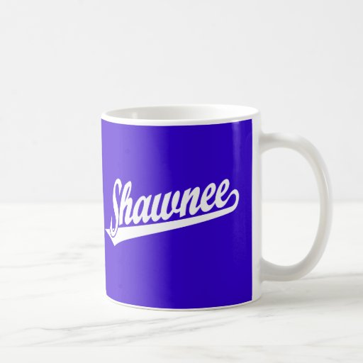 Shawnee script logo in white mugs