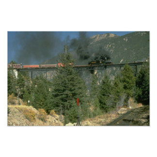 Shay locomotive No. 14 crosses the trestle at Geor Poster