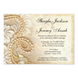 Shayla Pearls and Lace Wedding | eggshell Card