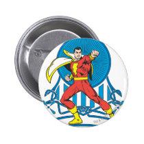 captain, marvel, family, mary, junior, thunder, shazam, black, billy, batson, justice league heroes, justice, league, justice league logo, justice league, logo, hero, heroes, dc comics, comics, comic, mic book, comic book hero, comic hero, comic heroes, comic book heroes, dc comic book heroes, batman, bat man, the dark knight, superman, super man, green lantern, wonder woman, green arrow, hawk man, hawk woman, plastic man, firestorm, dr. fate, Button with custom graphic design