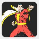 Shazam listo para luchar calcomanías cuadradass personalizadas