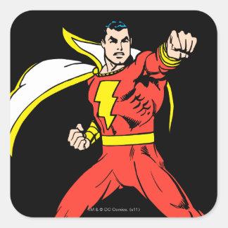 Shazam listo para luchar pegatina cuadrada