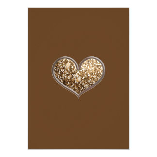 SHC2 BROWN GOLD GLITTER-LIKE SCRAPBOOKING HEARTS L CARD