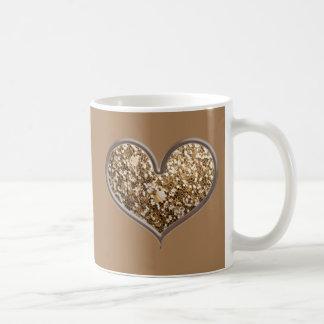 SHC2 BROWN GOLD GLITTER-LIKE SCRAPBOOKING HEARTS L COFFEE MUG