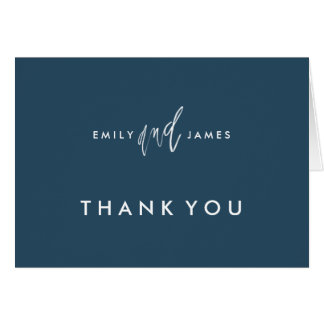 She and Him | Custom Color Thank You Note Card