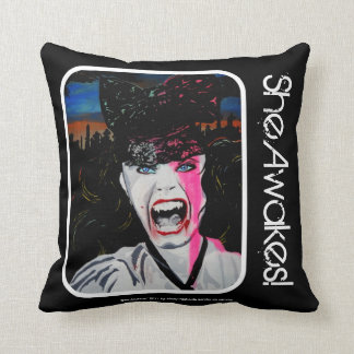 'She Awakes!' Vampire (Throw) American MoJo Pillow