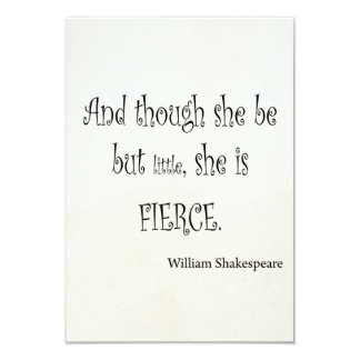 She Be But Little She is Fierce Shakespeare Quote 3.5x5 Paper Invitation Card