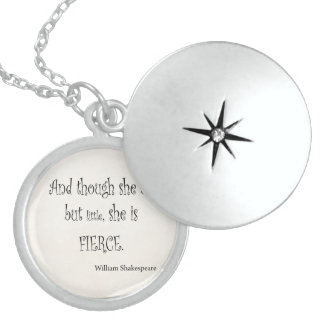 She Be But Little She is Fierce Shakespeare Quote Round Locket Necklace