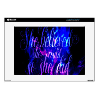 """She Believed in Amethyst Dreams Decal For 15"""" Laptop"""