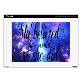 She Believed in Iridescent Skies Laptop Skin