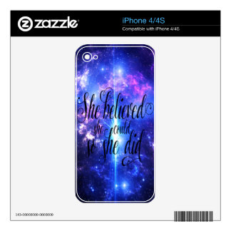 She Believed in Iridescent Skies Skins For iPhone 4S