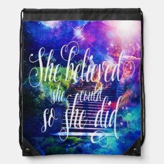 She Believed in Stairway to the Skies Drawstring Bag