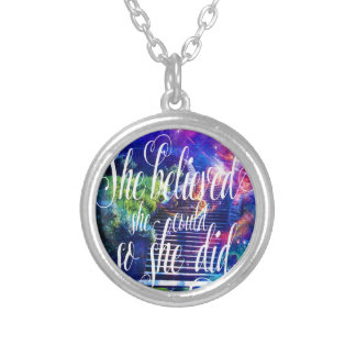 She Believed in Stairway to the Skies Silver Plated Necklace