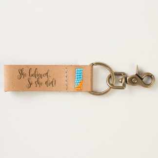 She Believed Leather Keychain