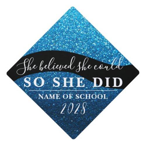 She Believed She Could Black Blue Glitter Sparkles Graduation Cap Topper