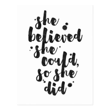 thetypographyshop She Believed She Could - Inspirational Card