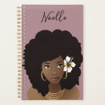 "She Believed She Could So She Did Planner<br><div class=""desc"">This design features digital art of a natual hair beauty with full afro and flower in her hair. You can customize this planner with your name on the front. The quote &quot;She believed she could so she did&quot; is on the back. You can find stickers to match this planner in...</div>"