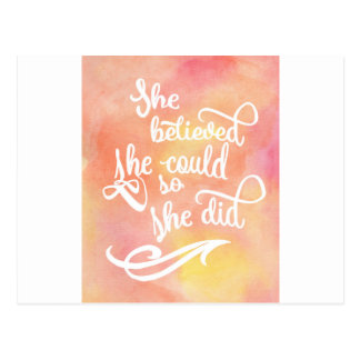 She Believed She Could So She Did Postcard