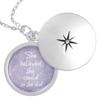 She Believed she Could so She Did Quote Round Locket Necklace