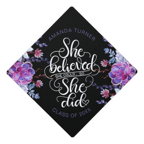 She believed she could so she did _ Succulents Graduation Cap Topper