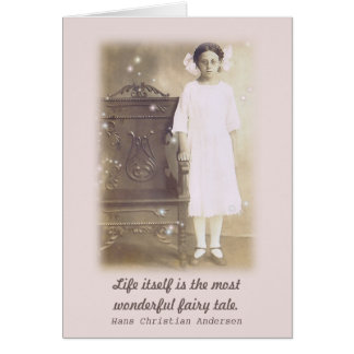 She believed Vintage Photo Fairy Tale Quote Card