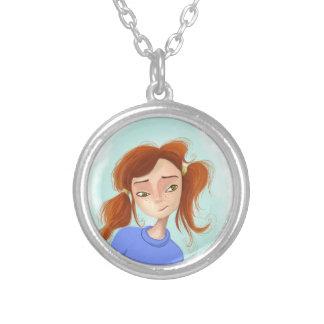 she cute happy smile round pendant necklace