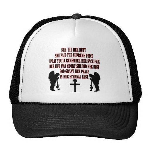 she did ago duty trucker hat