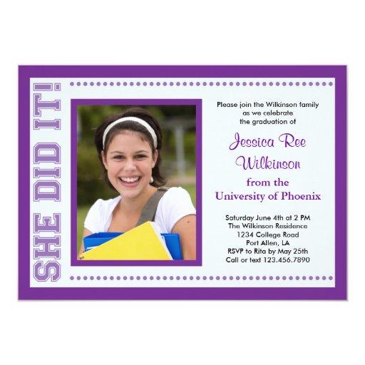 "She Did It! Graduation Photo Invitation 5"" X 7"" Invitation Card"