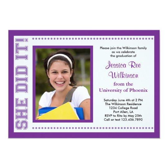 She Did It! Graduation Photo Invitation