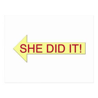 She Did It (left arrow) Postcard