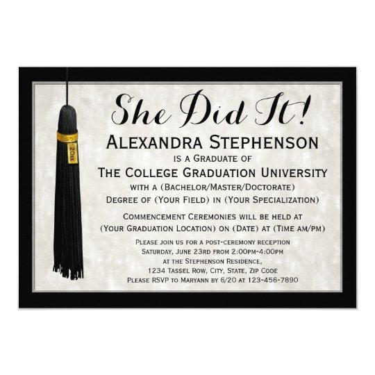 She did it tassel college graduation invitation zazzle she did it tassel college graduation invitation filmwisefo