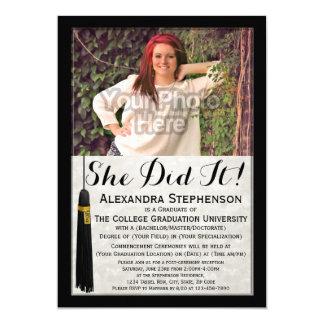 She Did It Tassel Photo College Graduation 5x7 Paper Invitation Card
